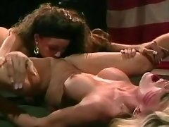 Army lesbian licking pussy on floor