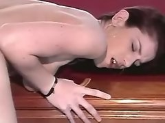 Lesbian with strapon fucks babe on billiard table