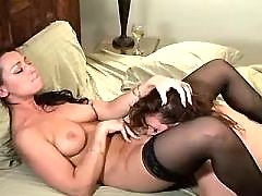 Lustful lesbians lick each other
